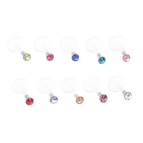 16G Surgical Stainless UV Flexible Acrylic 2mm CZ Gem Labret Monroe Lip Ring Tragus Helix Cartilage Earring Stud Barbell Body Piercing Jewelry 10pcs