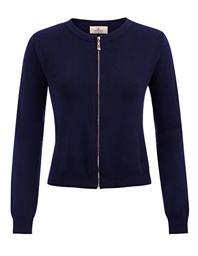 Women Cropped Knit Open Front Bolero Shrug Cardigans Navy Blue Size M CL871-3
