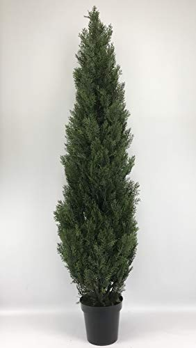 Silk Tree Warehouse Company Inc One 6 Foot Outdoor Artificial Cedar Topiary Tree UV Rated One Piece Construction (Outdoor Tree Artificial)