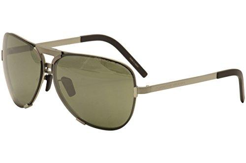 Porsche Design P8678 B Silver Aviator Mens Sunglasses Interchangeable - Sunglasses Interchangeables Temples