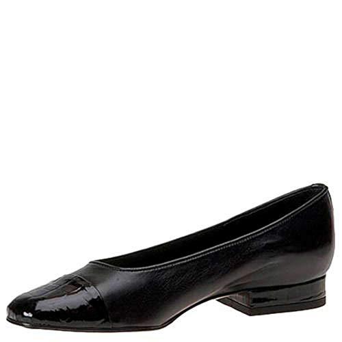 - VANELi Womens Frankie Cap Toe Loafers, Black/Black/Patent, Size 10.0