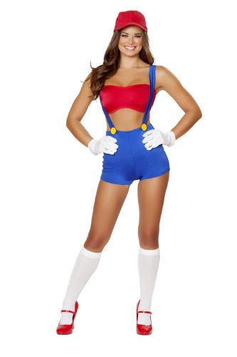 Video Game Costumes For Womens - Roma Costume Women's 3 piece Video Game Vixen, Red/Blue, Small/Medium