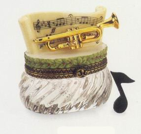 Trumpet with Note Porcelain Hinged Box PHB Midwest of Cannon Falls