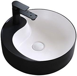 Minmin 浴室磁器盆地ラウンドカウンター盆地浴室ホームバルコニー洗面台シンクセラミックアート盆地付き蛇口セット、43.5×43.5×14センチ 芸術流域