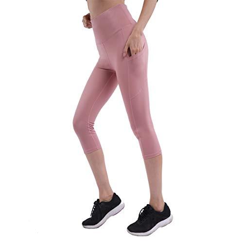 - Bulouin Yoga Leggings for Women Workout High Waist Capris Tummy Control Yoga Pants with Pockets (Half Pink, S)