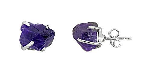 YoTreasure Raw Amethyst Solid 925 Sterling Silver Stud Earrings ()