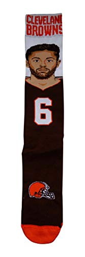 Cleveland Browns Baker Mayfield Selfie Socks by For Bare Feet (Medium & Large Available) (Large Fits Size 10-13) ()