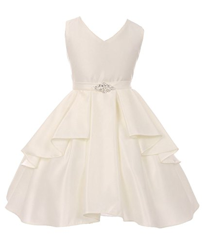 iGirlDress Big Girls Sleeveless V-Neckline Satin Flower Girl Dress Off White Size 8 -