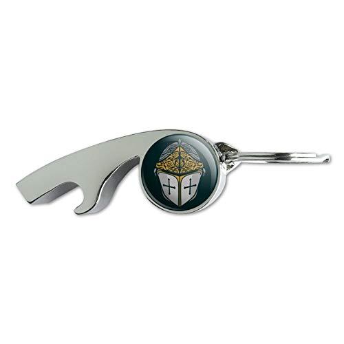 (Knight Warrior Helmet Medieval Roses Templar Chrome Plated Metal Whistle Bottle Opener Keychain Key Ring)