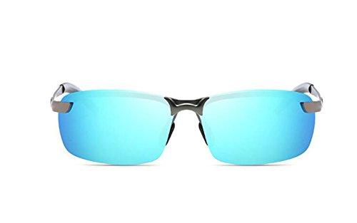 Protection Lunettes Hommes en de Lunettes Métal Hommes Polarisées Soleil de Soleil Gun UV pour Mode Cadre Sport Ultra Bleu Argent Léger avec Tukistore Conduite p7wxnq5OAn