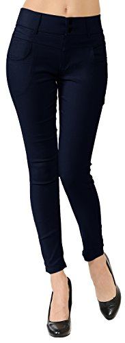 VIV Collection Mid-Rise Skinny Stretch Pull-On Casual Dress Ankle Pants (Navy, S/M)
