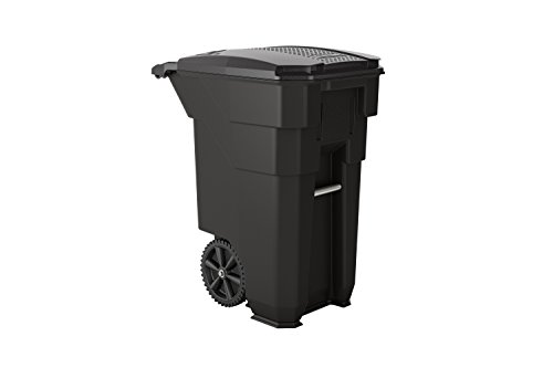 "Suncast Commercial BMTCW50 Wheeled Trash Can, 38.5"" Height, 23.5"" Width, 50 gal Capacity, Plastic, Gray"