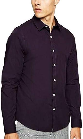 New Look - Camisa de manga larga con botones para hombre: Amazon.es: Ropa y accesorios