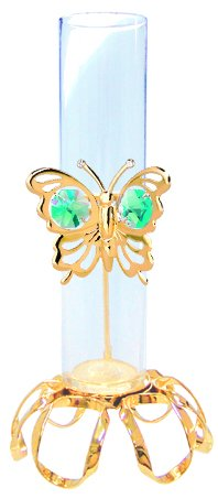 (MASCOTUSA 24k Gold Plated Butterfly Rooter Vase w/Green Swarovski Crystal Element)