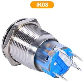 Blue Self-locking button,Keenso 19mm 12V LED Waterproof Stainless Self-locking Latching Push Button Switch On//Off Latch Button Switch 1NO1NC