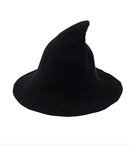 mettime-US-Womens-Fashions-Cute-Wool-Big-Brimmed-Witch-Pointed-Hats-Knitted-Wizards-Solid-Color-Bucket-Cap