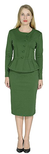 Marycrafts Women's Formal Office Business Shirt Jacket Skirt Suit 22 Forest (Green Womens Skirt Suit)