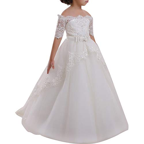 Flower Girl Dress for Kids Lace Ball Gown Wedding Bridesmaid Communion Dresses Puffy Tulle Prom Birthday Party School Princess Long Clothes #E White 2-3 Years