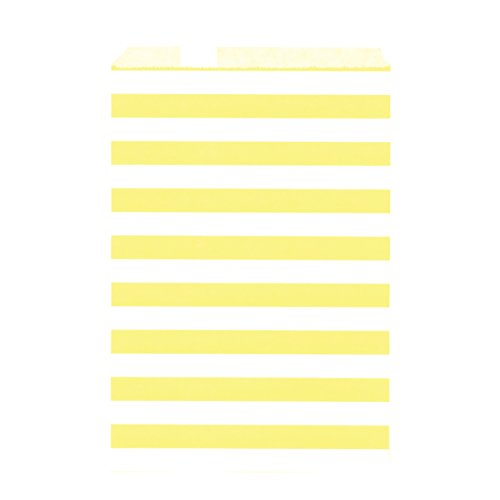 100CT Large Stripe Yellow Biodegradable, Food Safe Ink & Paper Cookie Bag, Eco-friendly Favor Bag, Treat Bag (Stripe Large, Yellow)