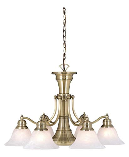 Antique Brass Standford 6 Light Single Tier Chandelier with Frosted Glass Shades - 26 Inches Wide ()
