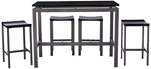 (Atlus 5-piece Counter Height Dining Set Black and Sliver)