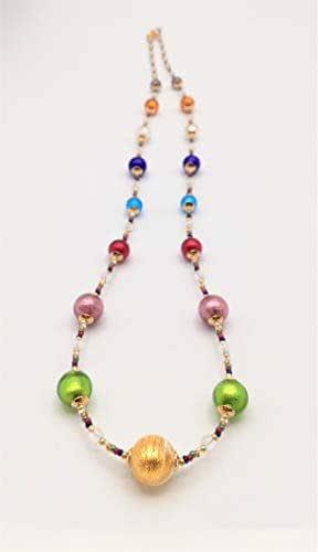 Rossi & Rossi - Collar con perlas redondas multicolores en pan de oro y plata.