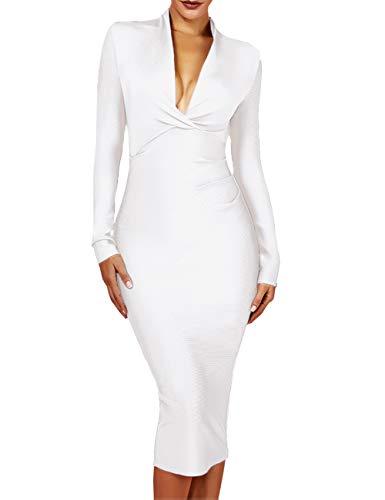 UONBOX Women's Deep Plunge V Neck Long Sleeves Draped Knee Length Bodycon Bandage Dress (S, White)