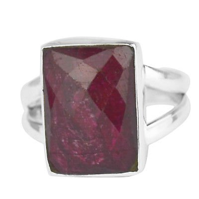 925 Sterling Silver natural Ruby gemstone Ring Size 7 US 4.78 g ci