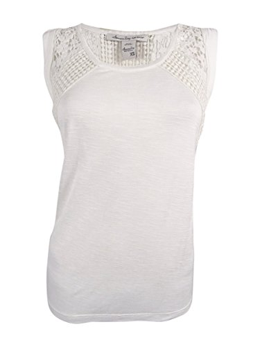 American Rag Women's Sleeveless Crochet Trim Top (XS, (American Rag Sleeveless)