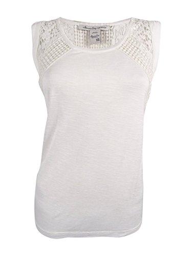 American Rag Women's Sleeveless Crochet Trim Top (XS, (American Rag Sleeveless)