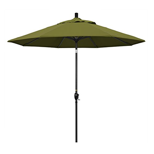 California Umbrella 9' Round Aluminum Market Umbrella, Crank Lift, Push Button Tilt, Black Pole, Pacifica Palm