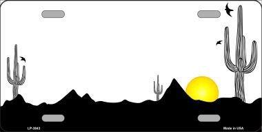 - Southwest Cactus Sunrise White Metal Novelty License Plate LP-3843