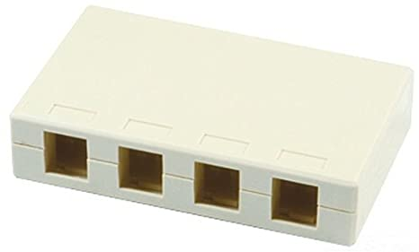 Allen Tel Products AT44-15 Versatap Shuttered Surface Mount Box With Tamper Resistant Cover And Adhesive Mounting Tape White 4 Ports