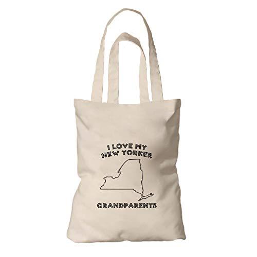 (I Love My New Yorker Grandparents NY Organic Cotton Tote Bag Tote)
