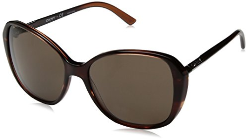 DKNY Women's Plastic Woman Square Sunglasses, Spotted Brown, 57 mm