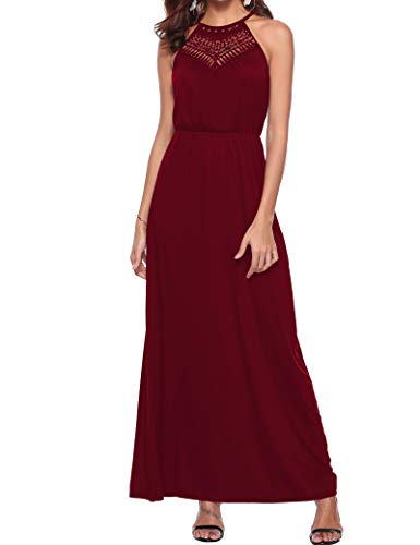 Sweetnight Women's Summer Loose Plain Maxi Dress Empire Waist Pleated Casual Loose Long Dress (Wine Red, S)