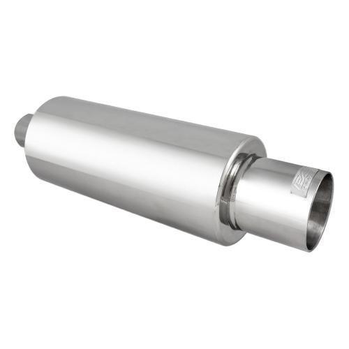 DC Sport EX-5015 Stainless Steel Round Muffler and Slant Cut Exhaust - Cut Tip Slant Exhaust