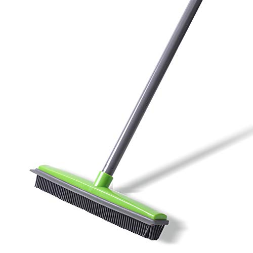 (Push Broom - Soft Bristle 59'' Rubber Broom Carpet Sweeper with Squeegee Adjustable Long Handle, Removal Pet Human Hair)