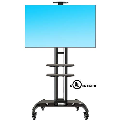 (NB North Bayou Mobile TV Cart TV Stand with Wheels for 32 to 65 Inch LCD LED OLED Plasma Flat Panel Screens up to 100lbs AVA1500-60-2P (Black 2 Shelves))
