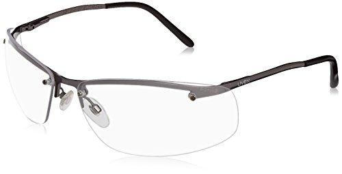 Uvex S4110X Slate Safety Eyewear, Matte Gunmetal Frame, Clear Uvextra Anti-Fog Lens