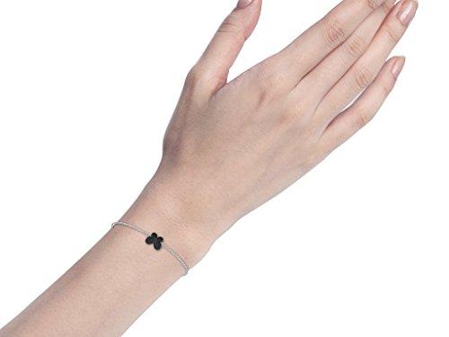 Or Blanc 18 ct Bracelet Diamant en forme de papillon, 0.11 Ct Diamant, GH-SI, 0.87 grammes.