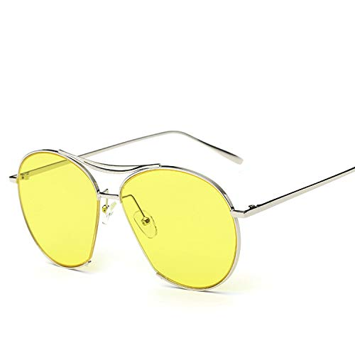 (2019 Fashion Round Sunglasses Personality Retro Unisex Oversized Metal Half Frame Couple Glasses UV400,S710)