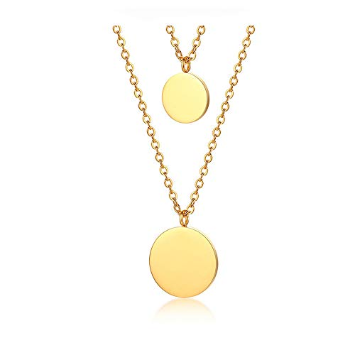 Layered Disc Necklace - WLL Double Gold Layered Chain Necklace Simple Disc Round Sequin Coin Necklace Bridal Jewelry (Gold)