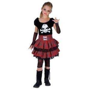 Wicked - Disfraz infantil de chica punk con calavera (talla M)