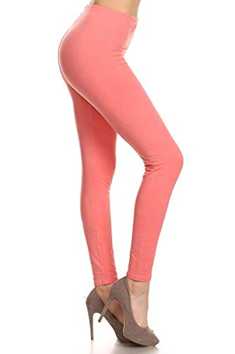 LDR128-Coral Basic Solid Leggings, One Size ()