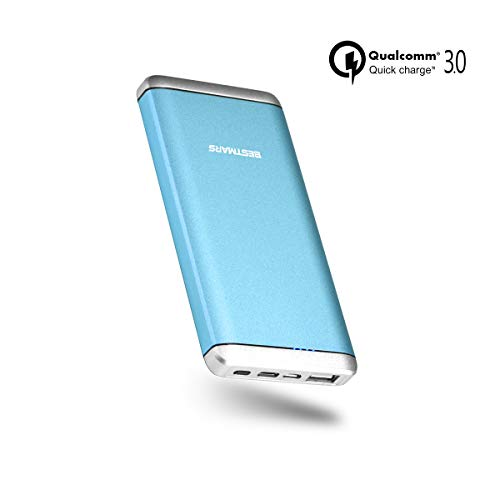 QC 3.0 10000mAh Ultra Compact Portable Charger, Qualcomm Quick Charge 3.0 Power Bank High Speed Charging with USB-C Cable for Samsung Galaxy s9 s8 s7 Plus Edge s6 s5 s4 Note 8 5 4 3 Mobile Phone Blue