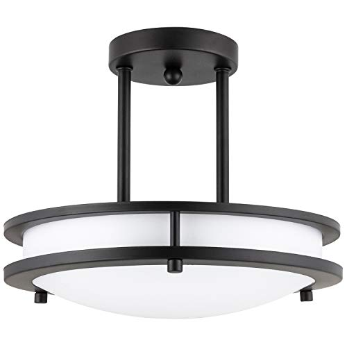 - Sunlite 49102-SU LED Pendant Semi Flush Mount Ceiling Light Fixture 15 Watts, Dimmable, Energy Star, 30K - Warm White Oil-Rubbed Bronze Finish