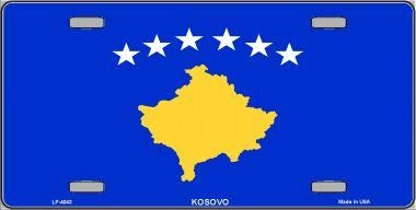 Bargain World Kosovo Flag Metal Novelty License Plate With Sticky Notes