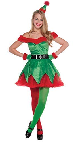 (Ladies Sexy Little Santas Helper Christmas Festive Xmas Red Green Fancy Dress Costume Outfit UK 8-16 (UK 14-16))