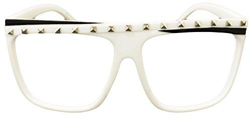 Novelty Costume Party Rock Flat Top Lmfao Glasses Music Video Shade Eyewear (White ( No WORD - Lmfao Glasses